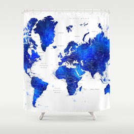 """Navy blue and cobalt blue watercolor world map with cities labelled, """"Carlynn"""" Shower Curtain"""