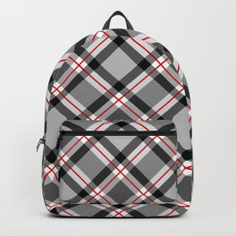 Large Modern Plaid, Black, White, Gray and Red Backpack