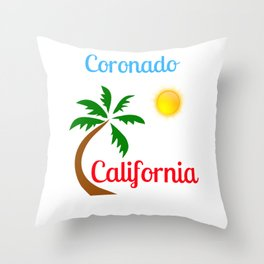 Coronado California Palm Tree and Sun Throw Pillow