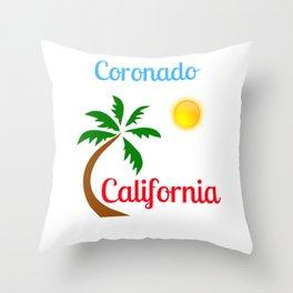 Coronado California Palm Tree and Sun Throw Pillow