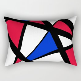 Geometric Red, White, and Blue Stars Abstract Rectangular Pillow