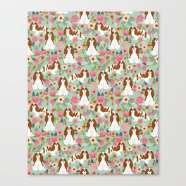 Blenheim Cavalier King Charles Spaniel dog breed florals pattern Canvas Print