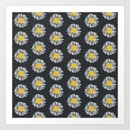 Daisy pattern basic flowers floral blossom botanical print charlotte winter dark color Art Print