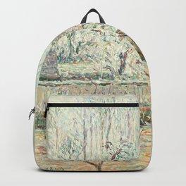 """Camille Pissarro """"Paysage avec Maisons et Mur de Cloture, Givre et Brume, Éragny"""" Backpack"""