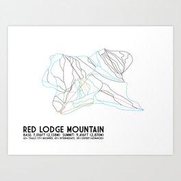 Red Lodge Mountain, MT - Minimalist Trail Art Art Print