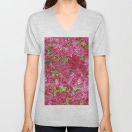 GREEN & FUCHSIA PINK CRABAPPLE FLOWER SPRING ART Unisex V-Neck
