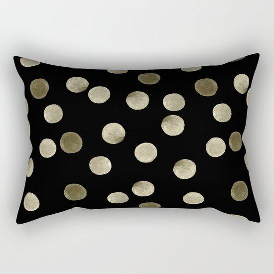 Watercolor . Olive green polka dots on black . Rectangular Pillow
