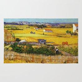 Painting a Harvest landscape Vinvent van Gogh Rug