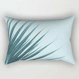 Blue Palm Leaf Rectangular Pillow
