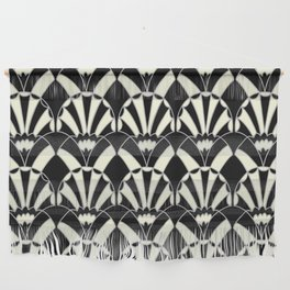 Art Deco Fans 1.3 Black Background Silver & Cream Wall Hanging