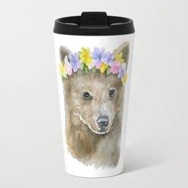Brown Bear Floral Watercolor Travel Mug