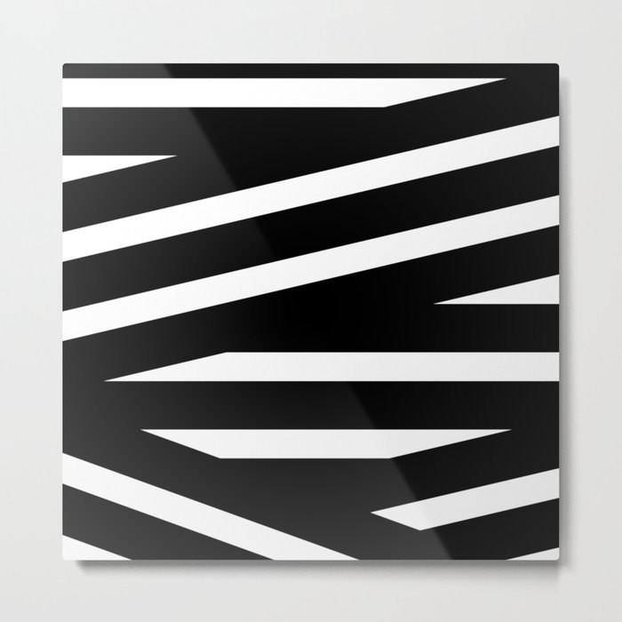 Abstract black & white Lines Stripes Pattern-Mix and Match with Simplicity of Life Metal Print