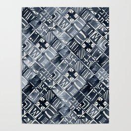 Simply Tribal Tiles in Indigo Blue on Lunar Gray Poster