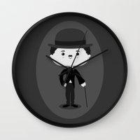 chaplin Wall Clocks featuring Charlie Chaplin by Sombras Blancas Art & Design