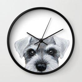 Schnauzer grey S Dog illustration original painting print Wall Clock