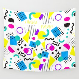 90's Neon Geometric Wall Tapestry