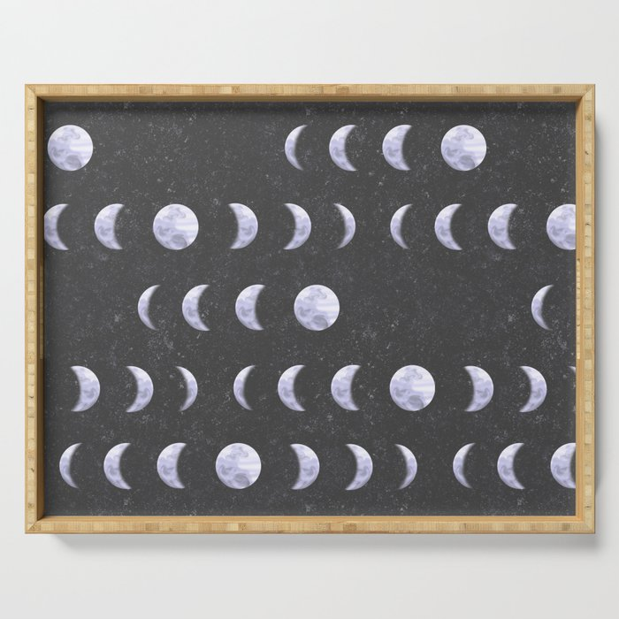 Moon Phases on Textured Grey Serving Tray