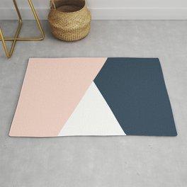 Elegant blush pink & navy blue geometric triangles Rug
