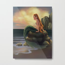 Beached Mermaid Metal Print