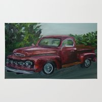 truck Area & Throw Rugs featuring Pickup truck by spiderdave7