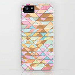 Triangle Pattern No. 25 Gold Pink Turqouise iPhone Case