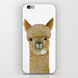 Watercolor llama with flowers iPhone Skin