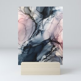Blush, Navy and Gray Abstract Calm Clouds Mini Art Print