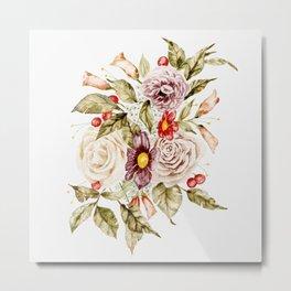 Winter Florals and Berries Metal Print