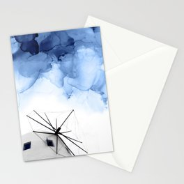 Blue Abstract Painting, Windmill Photography Stationery Cards