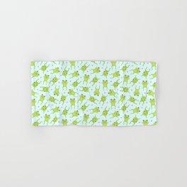 Kawaii Happy Frogs on Blue Hand & Bath Towel
