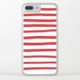 Red hand drawn stripes Clear iPhone Case