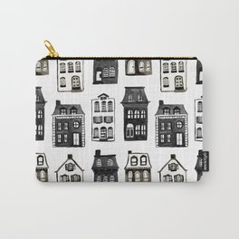 Mansard Mansions in Black + White Watercolor Carry-All Pouch