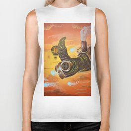 flying  steampunk turtle Biker Tank