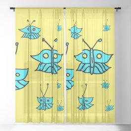 Light Blue Butterflies on Yellow Sheer Curtain
