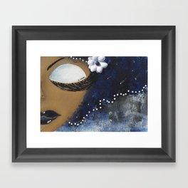 Blue and White Sassy Girl  Framed Art Print