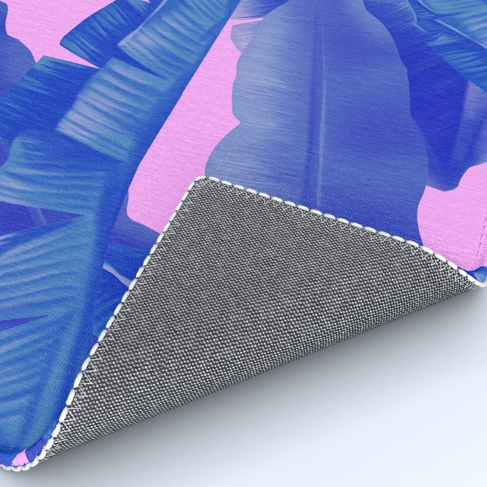 tropical banana leaves pattern,pink,blue Rug