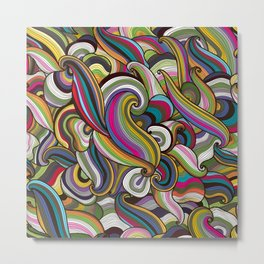 Abstract Waves Pattern 02 Metal Print