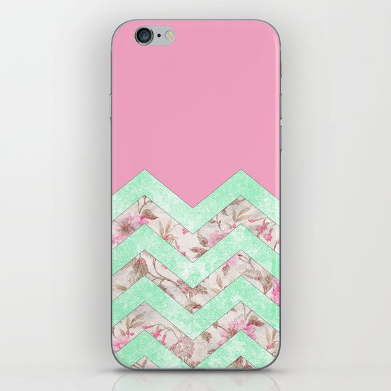 Girly Mint Green Pink Floral Block Chevron Pattern iPhone & iPod Skin