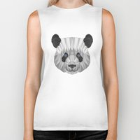 panda Biker Tanks featuring panda by Nir P