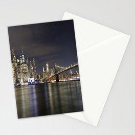 Manhattan And Brooklyn Bridge At Night Stationery Cards