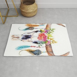 Floral and Feathers Adorned Bull Skull Rug