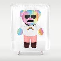 bondage Shower Curtains featuring Punk Rainbow Bondage Bear Full by YOSH FRIDAY