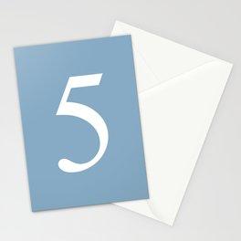 number five sign on placid blue color background Stationery Cards