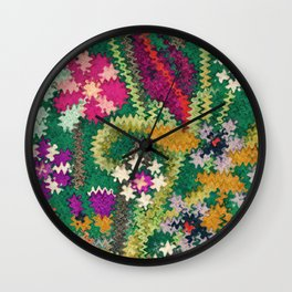 Starry Floral Felted Wool, Green Wall Clock