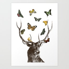 The Stag and Butterflies | Deer and Butterflies | Vintage Stag | Vintage Deer | Antlers | Woodland | Art Print