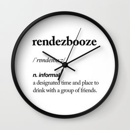 Rendezbooze black and white contemporary minimalism typography design home wall decor bedroom Wall Clock