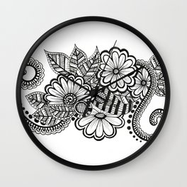 Floral with Leaves Wall Clock