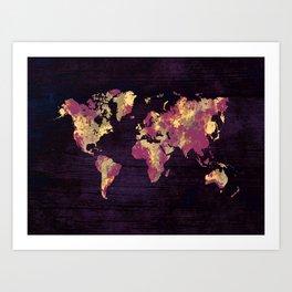 world map 86 red yellow Art Print