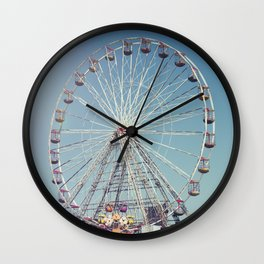 Fairground and ferris wheel against a blue sky, Blackpool Wall Clock