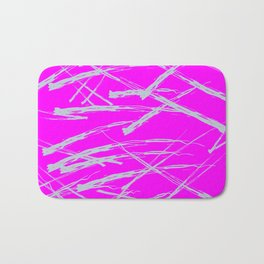 Neon Magenta background with Rough Blue Grey Paint Strokes, Teenage Girl Bedding Bath Mat